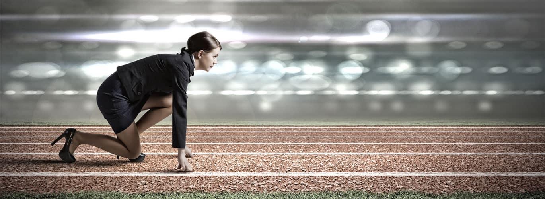 Fitnessfachwirt Ausbildung IHK - Businessfrau auf der Laufbahn