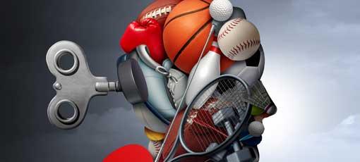 Aktiver Lebensstil und mentale Funktion oder psychologische Vorteile von Sport und Bewegung als eine Gruppe von Sportgeräten, die als menschlicher Kopf für psychische Gesundheit mit 3D-Illustrationen geformt werden.